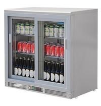 Polar G-serie gekoelde barsisplay zilver 180 flessen | 223L | Met 2 schuifdeuren | 112W | 230V | 920x535x925(h)m