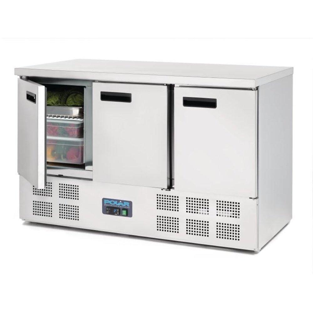 G-serie 3-deurs RVS koelwerkbank   368L   1/1 GN   Met RVS werkblad   1370x700x880(h)mm