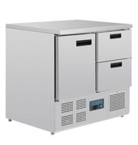 Polar G-serie RVS koelwerkbank 1 deur en 2 laden | 240L | 1/1GN | 230V | 900x700x880(h)mm