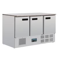 Polar G-serie RVS koelwerkbank 3-deurs | 368L | Met granieten werkblad | 9x 1/1 GN | 1370x700x880(h)mm