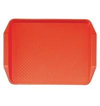 Cambro Polypropyleen fastfood dienblad met handvatten rood | 43(b) x 30(d)cm