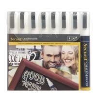 Securit Uitwisbare krijtstiften wit 6mm   8 stuks   Regenbestendig   165x33x230(h)mm