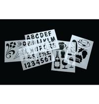 Securit Sjablonen | 5 stuks | Met o.a letters en figuren | 22x05x320(h)mm