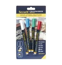 Securit Wisbare krijtstiften 2mm assorti | 4 stuks | Veeg, vlek en waterbestendig
