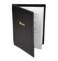 Olympia Kunstlederen menu map zwart | A5 formaat | 1 hoes 4 pagina's