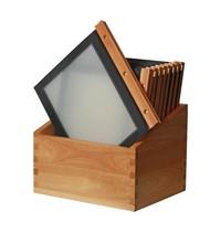 Securit Menu mappen set met houten box zwart | A4 formaat | 20 stuks | 301x246x337(h)mm