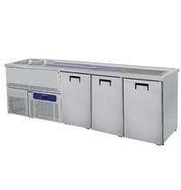 Mastro Bierkoeler RVS | 3 deurs | Met 2 spoelbakken links | 230V | Voor 3x 50L fusten | 2500x700x960(h)mm