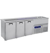 Mastro Bierkoeler RVS | 3 deurs | Met 2 spoelbakken rechts | 230V | Voor 3x 50L fusten | 2500x700x960(h)mm