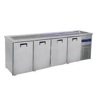 Mastro Bierkoeler RVS | 4 deurs | Met 1 spoelbak rechts | 230V | Voor 4x 50L fusten | 2650x700x960(h)mm
