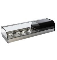 Mastro Tapasvitrine | RVS/Zwart | +1°C/+5°C | Geventileerd | 4x 1/3 GN | Compressor Links | 1216x410x250(h)mm