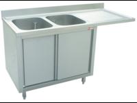 RVS spoeltafels met ruimte voor vaatwasser dichte kast