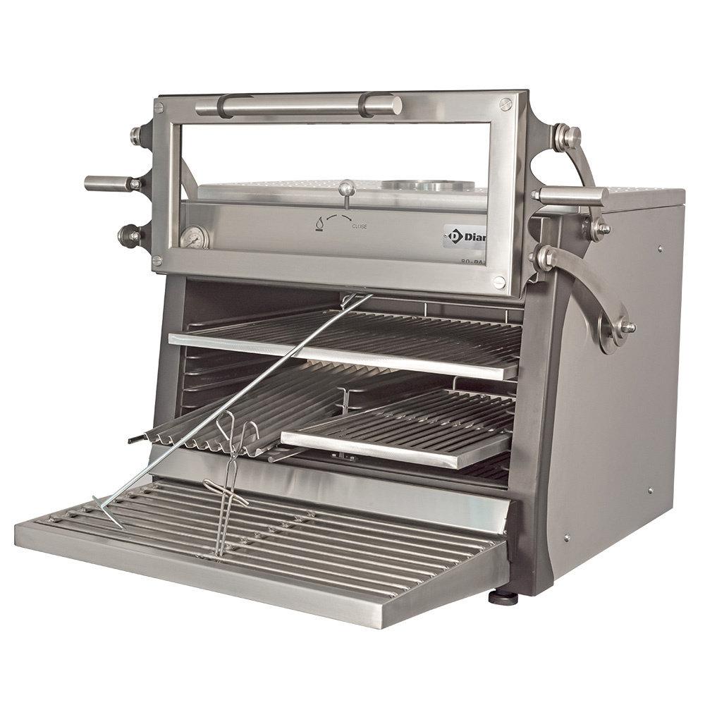 Houtskooloven-BBQ met hefbare deur RVS | 75kg/h | GN 1/1 - GN 2/4 | 900x722x690/840(h)mm