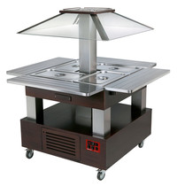 Diamond Warm Buffet Eiland Bain Marie (wenge hout) gemotoriseerd koepel | 4x GN 1/1 150mm | 1040x1435x1540(h)mm