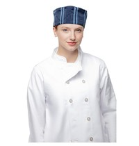 ChefWorks Urban Chef Works Urban Presidio beanie donkerblauw satijn gestreept | Polyester/katoen