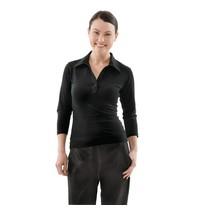 ChefWorks Uniform Works dames shirt met V-hals zwart | Polyester/Katoen