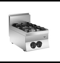 Gastro-Inox 650 HP gaskooktoestel 2 branders 40cm | 9,5kW/h | 400x650x295(h)mm