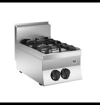 Gastro-Inox 650 HP gaskooktoestel 2 branders 40cm | 12kW/h | 400x650x295(h)mm