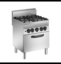 Gastro-Inox 650 HP  gasfornuis 4 branders |  Met gasoven 70cm  - 1/1 GN | 35 kW/h |  700x650x870(h)mm