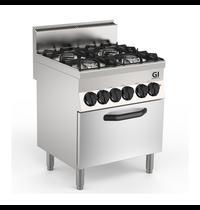 Gastro-Inox 650 HP gasfornuis 4 branders | Met elektrische oven 70 cm - 1/1 GN | 4,2 kW/h | 700x650x870(h)mm