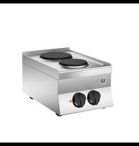 Gastro-Inox 650 HP kooktoestel met 2 gietijzeren kookplaten 40cm | 4,1 kW/h | 400x650x295(h)mm