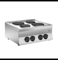 Gastro-Inox 650 HP kooktoestel met 4 gietijzeren kookplaten 70cm | 5,2 kW/h | 700x650x295(h)mm