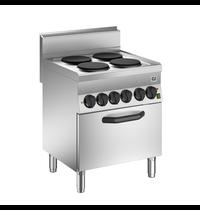 Gastro-Inox 650 HP kooktoestel met 4 kookplaten   Met elektrische oven 70cm - 1/1 GN    12,4 kW/h   700x650x870(h)mm