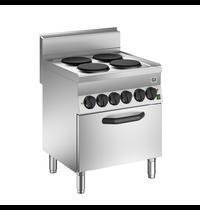 Gastro-Inox 650 HP kooktoestel met 4 kookplaten   Met heteluchtoven 70cm - 1/1 GN   12,4 kW/h   700x650x870(h)mm