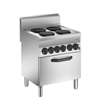 Gastro-Inox 650 HP kooktoestel met 4 kookplaten   Met heteluchtoven 70cm - 1/1 GN   14,6 kW/h   700x650x870(h)mm