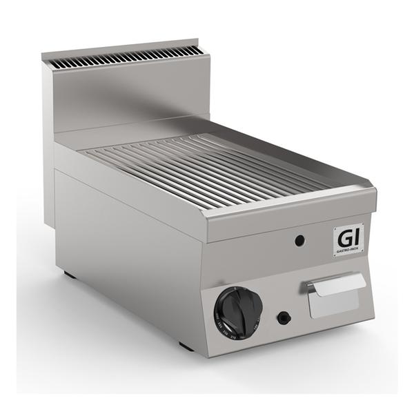 650 HP gas bakplaat met geribbelde RVS plaat 40cm | 5kW/h | 400x650x295(h)mm