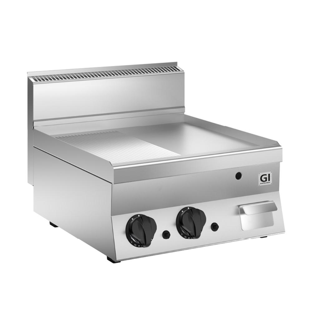 650 HP gas bakplaat half glad - half geribbeld RVS plaat 60 cm | 10kW/h | 700x640x295(h)mm
