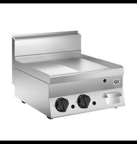 Gastro-Inox 650 HP gas bakplaat half glad - half geribbeld RVS plaat 60 cm | 10kW/h | 700x640x295(h)mm