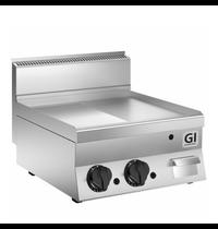 Gastro-Inox 650 HP gas bakplaat half glad - half geribbeld speciaal geslepen stalen plaat 80 cm | 12,5 kW/h | 800x650x295(h)mm