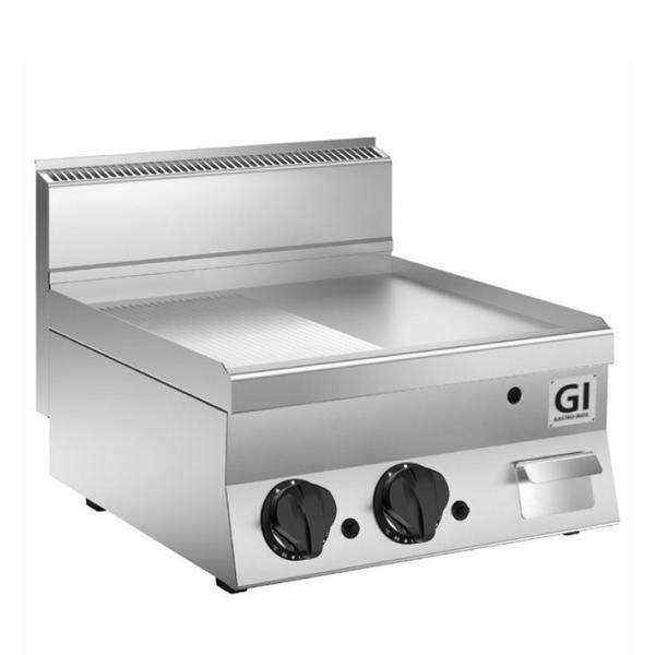 650 HP gas bakplaat half glad - half geribbeld RVS plaat 80cm | 12,5 kW/h | 800x650x295(h)mm