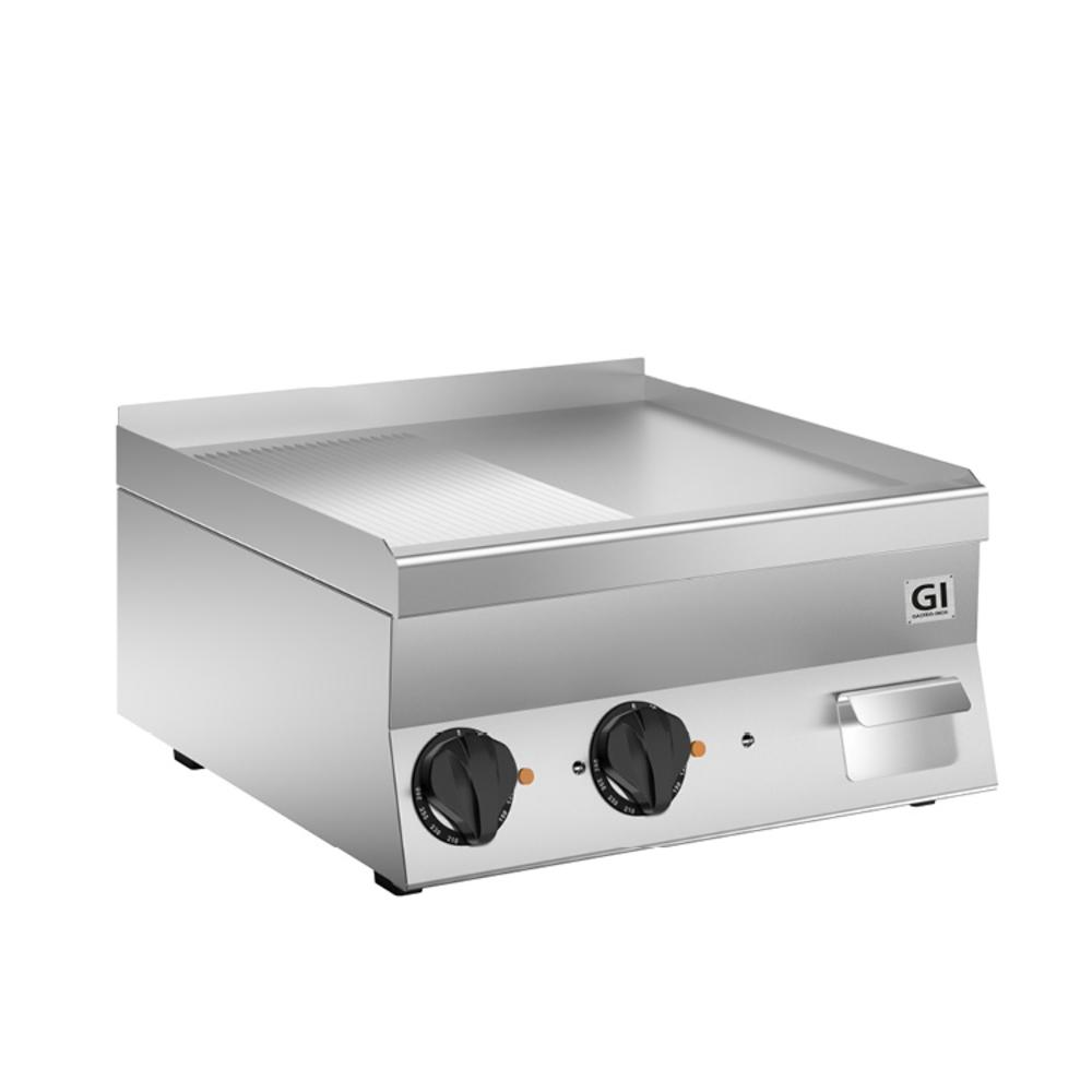 650 HP elektrische bakplaat half geribbeld - half glad verchroomde plaat 60cm | 7,8kW/h | 600x600x295(h)mm