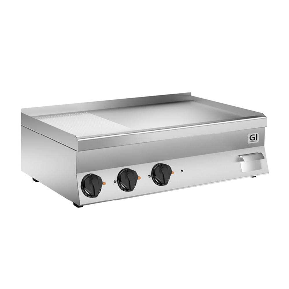 650 HP elektrische bakplaat 2/3 glad - 1/3 geribbeld  verchroomde plaat 100cm | 11,7kW/h | 1000x600x295(h)mm