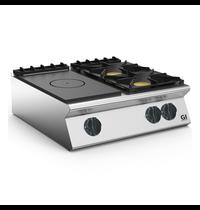 Gastro-Inox 700 HP gloeiplaat 80cm - gietijzeren kookplaat 2 branders | 18kW/h | 800x730x250(h)mm
