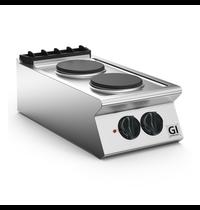 Gastro-Inox 700 HP kooktoestel met 2 ronde platen 40cm | 5,2kW/h | 400x730x250(h)mm