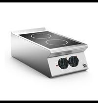 Gastro-Inox 700 HP keramische kookplaat met 2 kookzones 40cm   5kW/h   400x730x250(h)mm