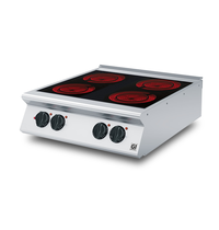 Gastro-Inox 700 HP keramische kookplaat met 4 kookzones 80cm | 10kW/h | 800x730x250(h)mm