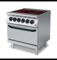 Gastro-Inox 700 HP keramische kookplaat met 4 kookzones 80cm   Met elektrische oven   16kW/h   800x730x870(h)mm