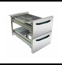 Gastro-Inox 700 HP RVS laden set 40cm voor 40/80cm onderkasten | 390x558x215(h)mm