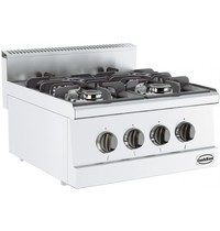 Gastro-Inox Base 600 gas kooktafel | 4 branders | 4x 3,25 kW/h | 600x600x300(h)mm