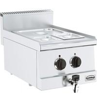 CombiSteel Base 600 bain marie elektrisch   1x 1/2 GN - 2x 1/6 GN   1,5 kW/h   Met aftapkraan   400x600x300(h)mm