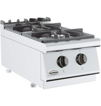 CombiSteel Base 700 gas kooktoestel | 2 branders | 2x 6,5 kW/h | 400x700x300(h)mm