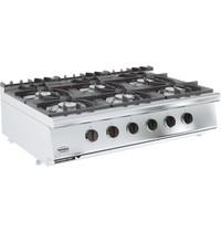 CombiSteel Base 700 gas kooktoestel | 6 branders | 6x 6,5 k/h | 1200x700x300(h)mm