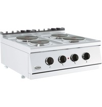 Combisteel Base 700 kooktafel elektrisch   4 platen   2x 2,25 - 2x 1,85 kW/h   800x700x300(h)mm