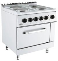 Combisteel Base 700 kooktafel elektrisch 4 platen 2x 2,5 - 1x 1,185 kW/h   Met elektrische oven 6 kW/h   800x700x900(h)mm