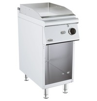 Combisteel Base 700 gas bakplaat chroom met open onderstel | 6,5kW/h | Glad | 400x700x900(h)mm