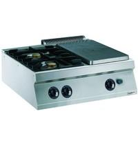 CombiSteel Pro 700 kookplaat unit gas | 2 branders | 18kW/h  | 800x700x250(h)mm