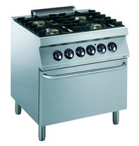 CombiSteel Pro 700 gas fornuis  4 branders 22kW/h | Met elektrische oven 6kW/h | 800x700x850(h)mm